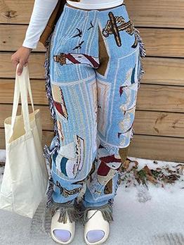 Fashion Print Tassel Long Pants For Women