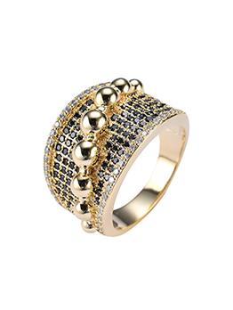 European Style Hip Hop Zircon Copper Ring