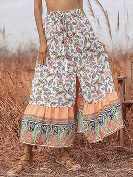 National Style Paisley Print Slit Drawstring Skirt