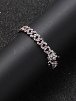 Attractive White And Pink Zircon Bracelet