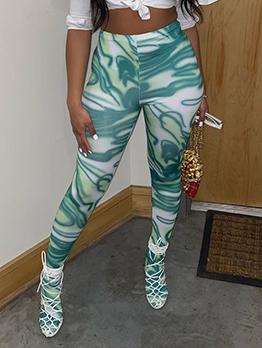 Summer Printing High Waist Skinny Long Pants