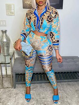 Fashion Turndown Collar Long Sleeve Blouse Long Pants