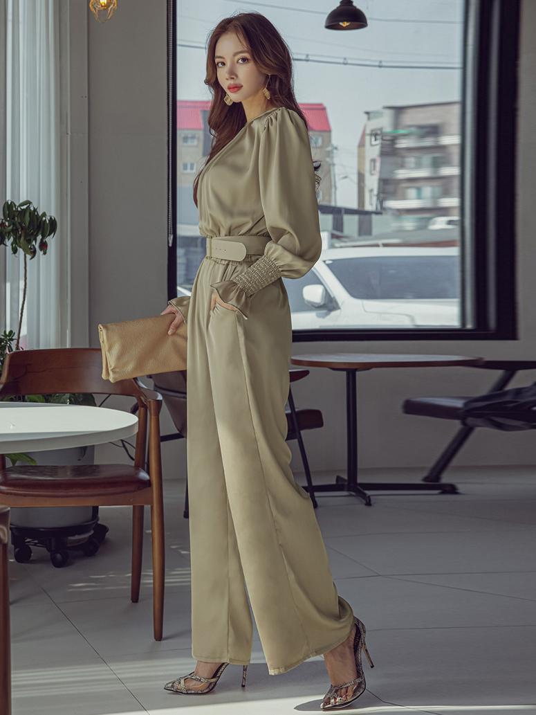 Elegant Plain Green Long Sleeve Jumpsuit