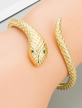 Serpentine Modern Golden Copper Hip Hop Bracelet