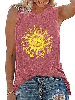 Contrast Color Crew Neck Sleeveless T Shirt