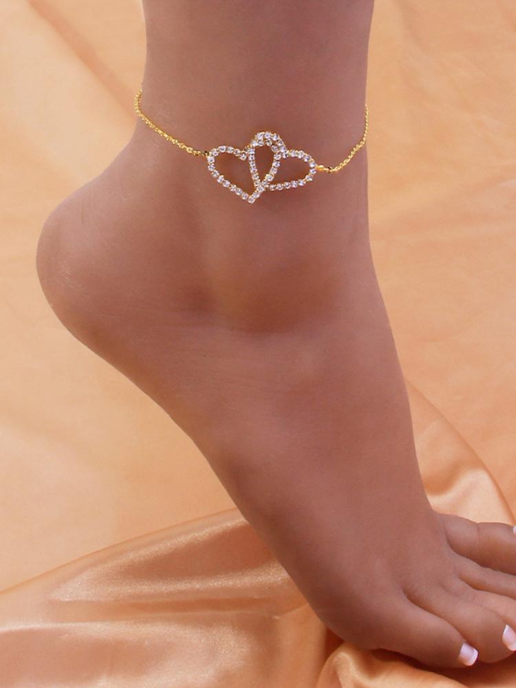 Trendy Create Heart Rhinestone Beach Anklet