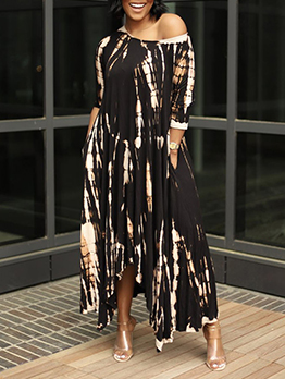 Chic Tie Dye Loose Irregular Hem Maxi Dress
