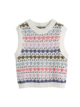 Multicolored Knitting Hollow Out Sleeveless Blouse