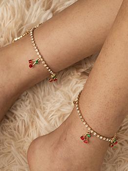 Stylish Rhinestone Simple Cherry Pendant Anklet
