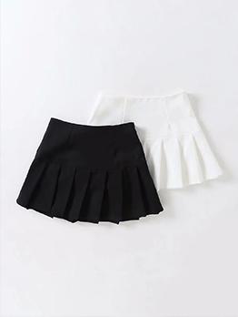 Street Solid High Waist Pleated Skirt