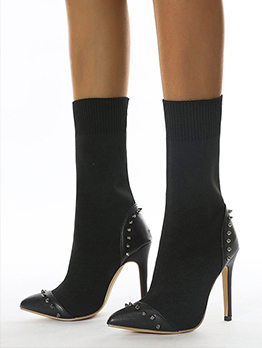 Latest Style Rivet Black Heel Mid Calf Boots