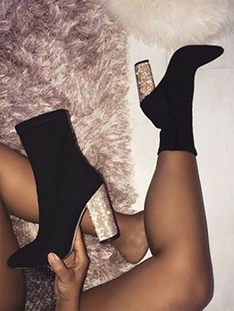 Nightclub Wear Fashion Black Sexy Heel Ankle Boots