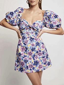 V Neck Summer Fresh Floral Printed Short Dresses