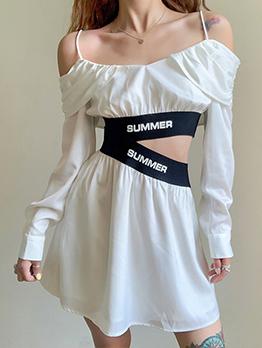 Fashion One Off  Shoulder Patchwork White Dresses