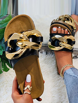 Fashion Chain Flat Slippers For Women