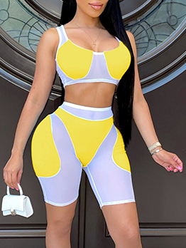 Euro Contrast Color Gauze Two Piece Outfits Shorts