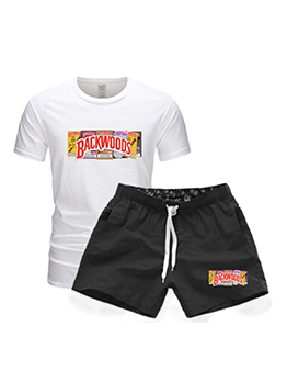 Casual Drawstring Letter Short Sleeve Pants Set