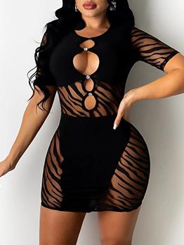 Sexy Gauze Hollow Out Short Sleeve Black Dress