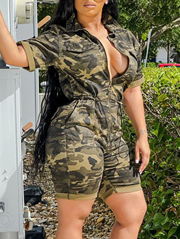 New Arrival Camouflage Zip-Up Short Sleeve Romper