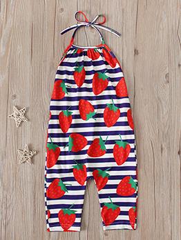 Adorable Strawberry Print Tie-Wrap Halter Kids Romper