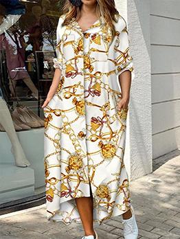 Fashion Casual Camouflage Long Sleeve Maxi Dress