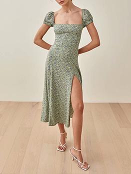 Vintage Print Square Neck Maxi Dress