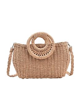 Ladies New Fashion Solid Straw Hand Bag