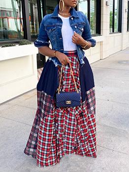 Popular Loose Plaid Plus Size Maxi Skirt