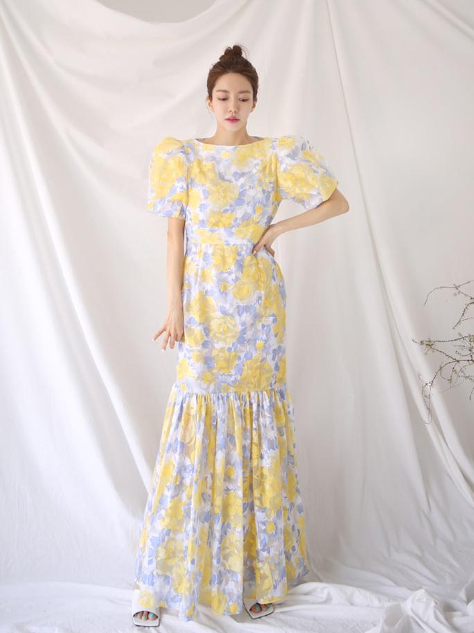 Lantern Style Printed Yellow Fishtail Maxi Dress