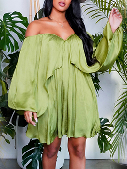 Chiffon Solid Loose Casual Plus Size Long Sleeve Dress