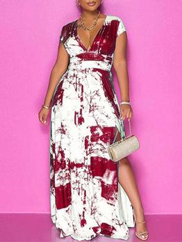 V Neck Printing Slit Short Sleeve Maxi Dresses