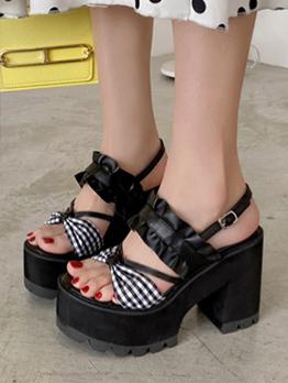 Korean Ruffle Plaid Bow Platform Heels