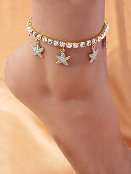 Rhinestone Easy Matching Starfish Pendant Anklet