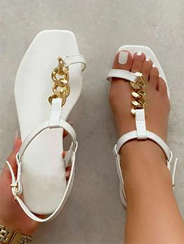 Summer Chain Patchwork Women Flat Sandals
