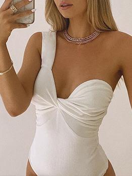 Chic One Shoulder Ruched White Sleeveless Bodysuit