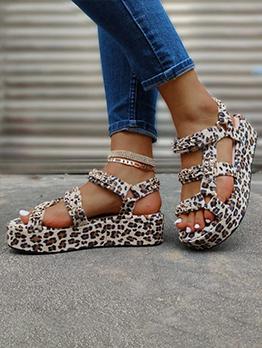 European Leopard Animal Printed Platform Sandals