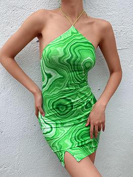 Summer Whirlpool Printing Backless Halter Dresses For Women