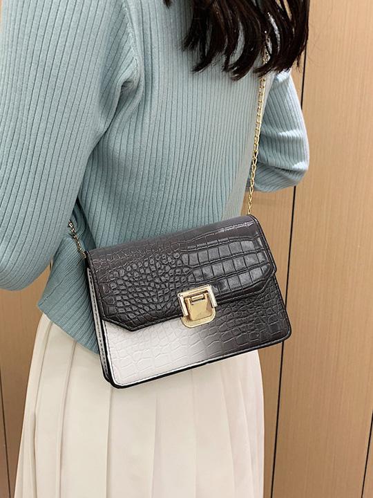 Fashion Gradient Color Crocodile Print Shoulder Bags