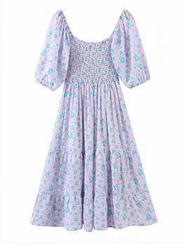 Youthful Blue Floral Lantern Sleeve Tie Wrap Dresses