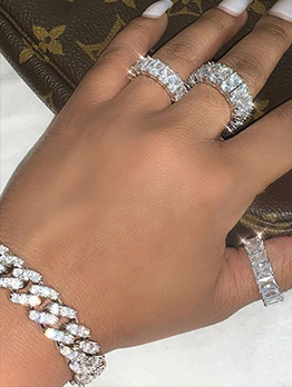 Square Shape Zircon Vintage Women Ring Sets