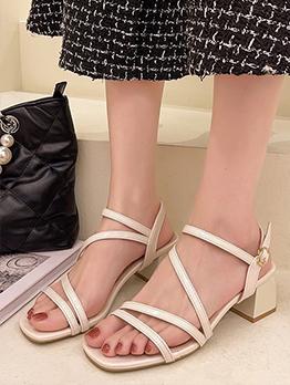 Roman Style Korean Casual Chunky Heel Sandals