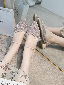Rhinestone Faux-Pearl Design Pointed Toe Sandals