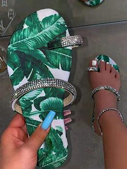 Simple Design Flat Rhinestone Latest Style Slippers