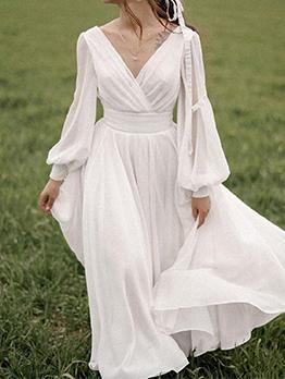 Gorgeous Long Lantern Sleeve V Neck Maxi Dresses