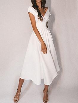 Elegant Sexy Hollow Out V Neck Maxi Dresses