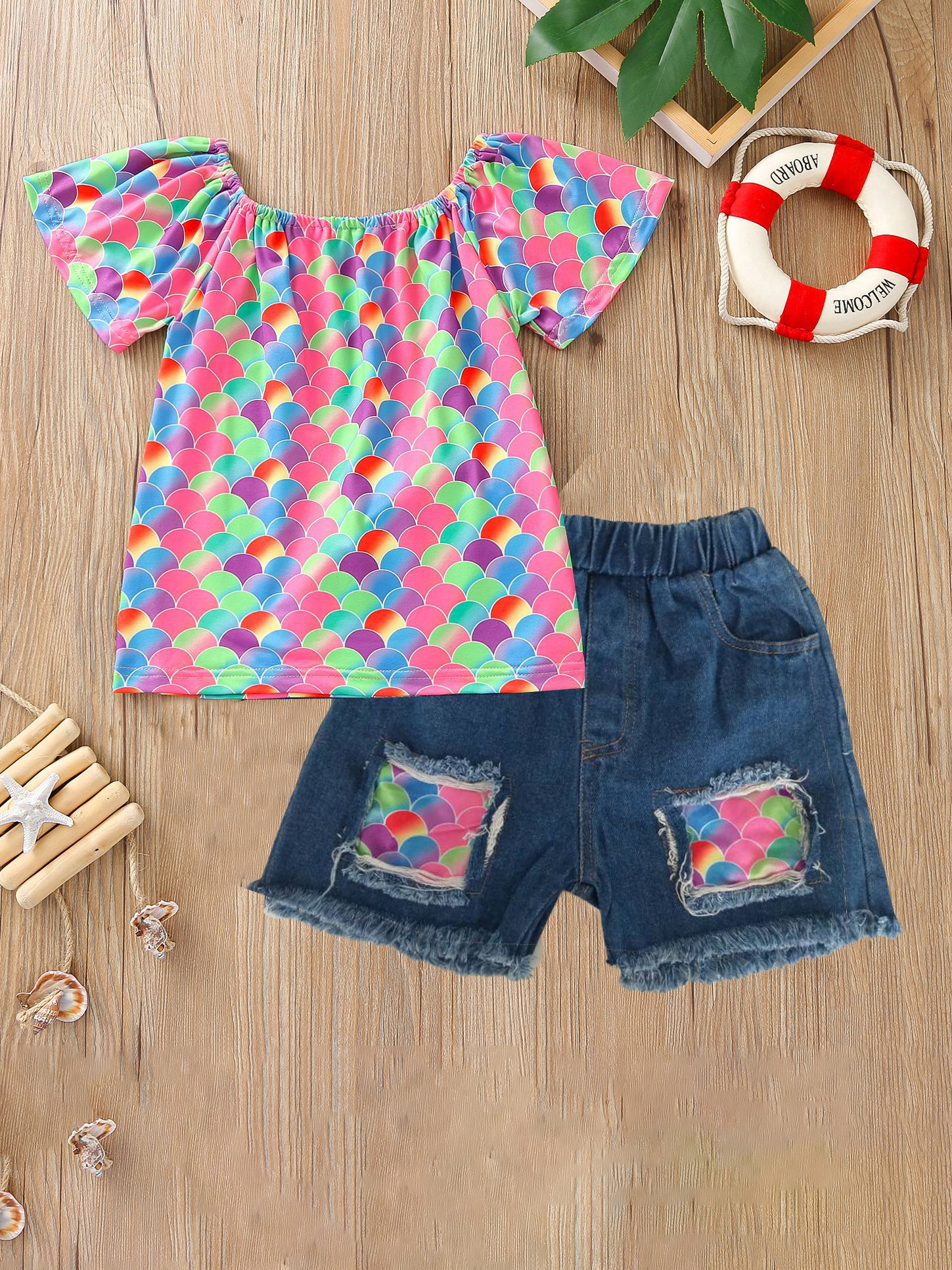 Summer Colorful Print Top With Denim Pants