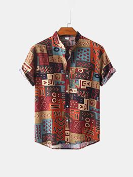 Fashion Button Up Print Beach Shirt