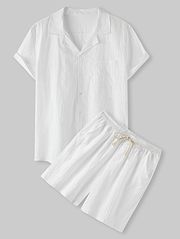 Pure White Casual Two Piece Outfit For Men