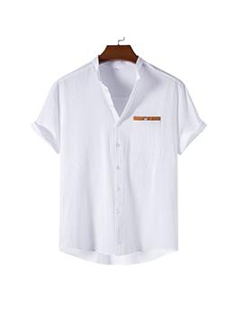 Stand Collar White Vintage Mens Shirt
