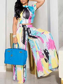 Fashion Tie Dye Top With Wide Leg Pants